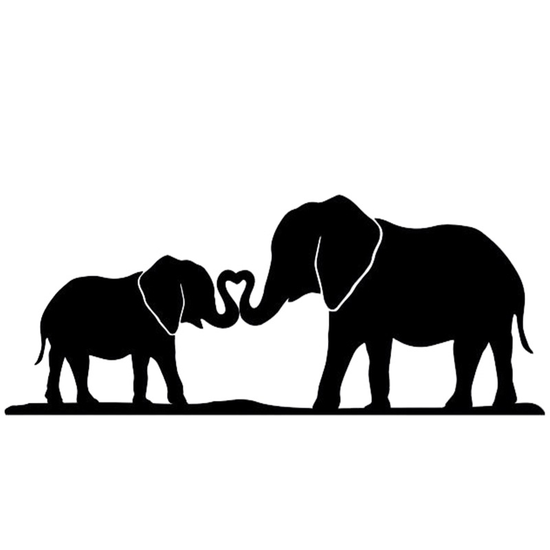 800x800 Mother And Baby Elephant Silhouette