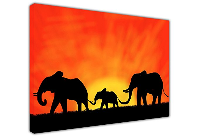 679x467 Canvas It Up African Elephant Family Under Sunset Silhouette Large