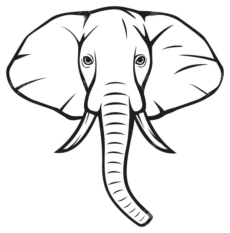 image relating to Elephant Outline Printable referred to as Elephant Thoughts Silhouette at  No cost for