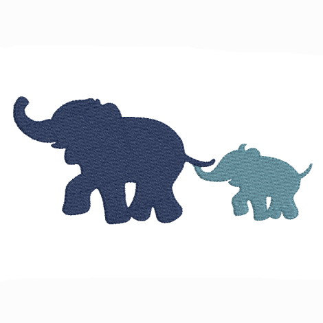 470x470 Embroidery Design Machine Elephant And Baby Elephant Silhouette
