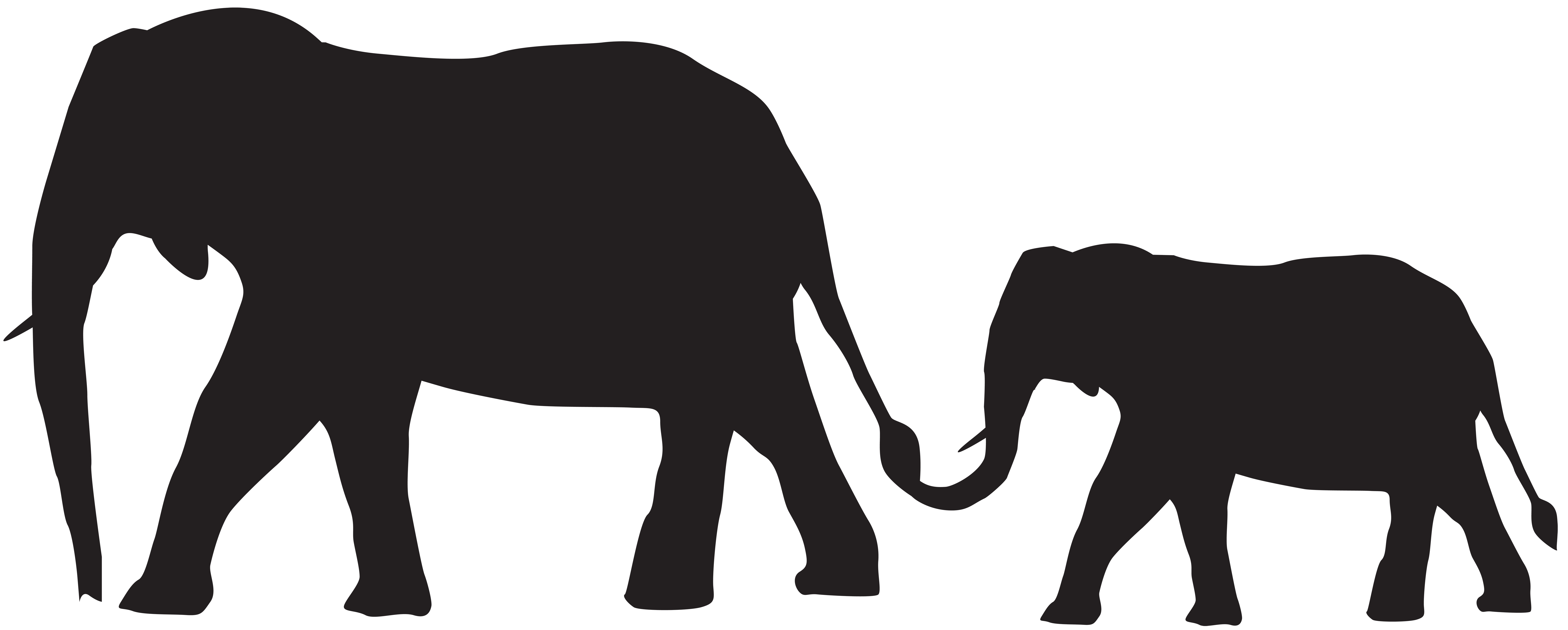 8000x3212 Mother And Baby Elephants Silhouette Png Clip Art Imageu200b Gallery