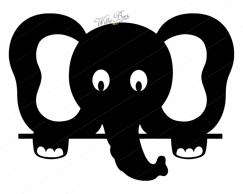 3000x2400 Peeking Elephant Silhouette Clipart