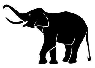 320x228 Elephant Silhouette 6 Decal Sticker