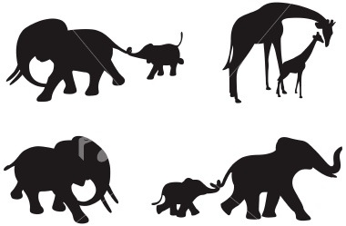 380x249 Mother And Baby Elephant Silhouette
