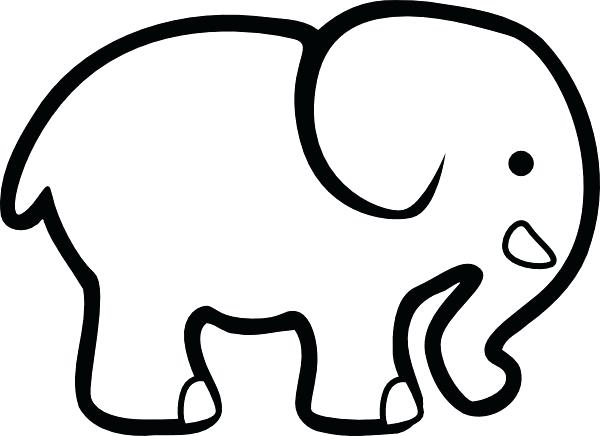 600x436 Cute Elephant Outline Tattoo Kids Coloring Best Elephant Project