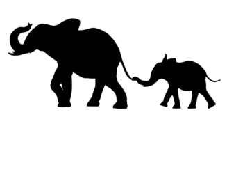 340x270 Elephant Silhouette Trunk Up Clipart
