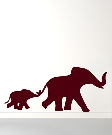378x454 Mother And Baby Elephant Silhouette