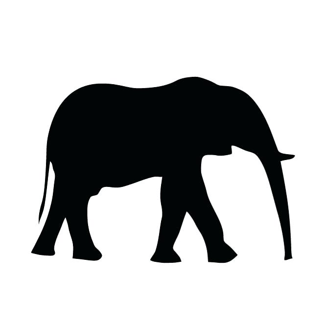 660x660 Outline Elephant On White Background Stock Vector The Outline