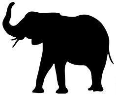 236x194 Elephant Silhouette Trunk Up Clipart