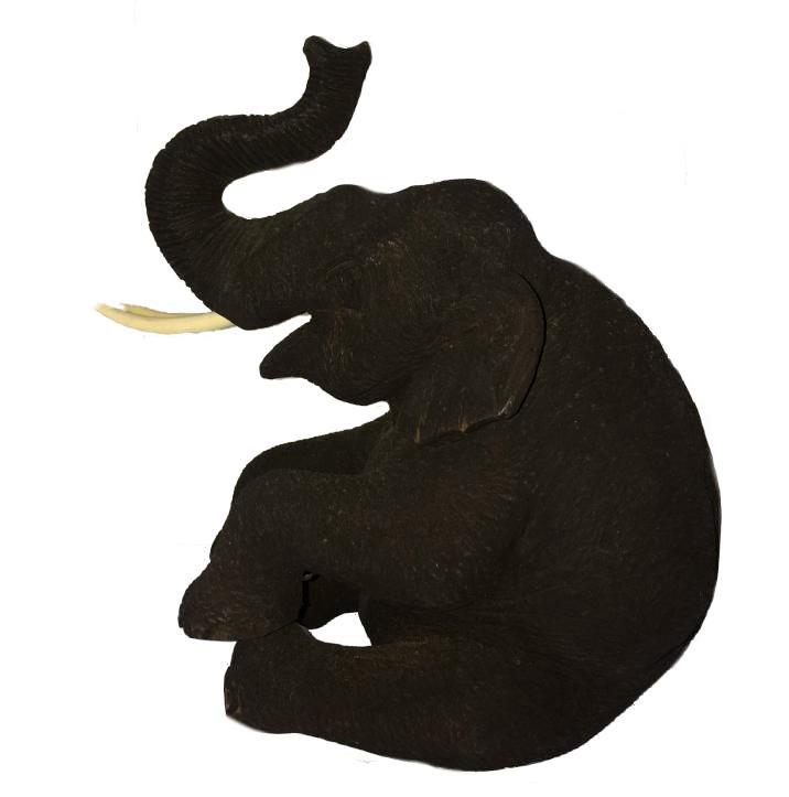 716x723 Teak Wooden Sitting Elephant Trunk Up 22cm Tall The Elephant