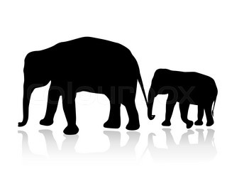 320x262 Vector Illustration Of Elephant Silhouettes On White Background