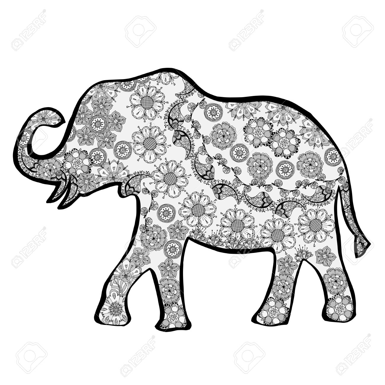 1300x1300 Elephant Black And White Clipart Silhouette Flowers Collection