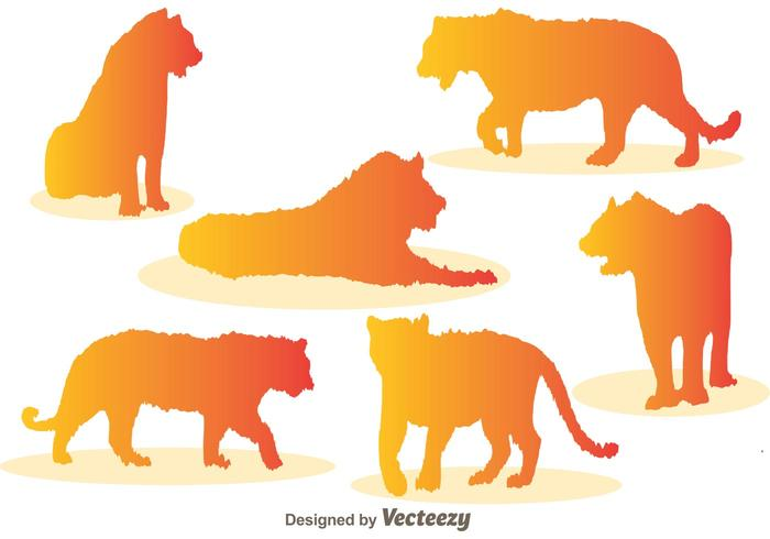 700x490 Tiger Silhouette Vector Icons