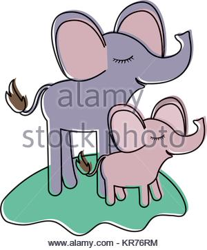 300x363 Cartoon Couple Elephants And Calf Over Grass In Watercolor
