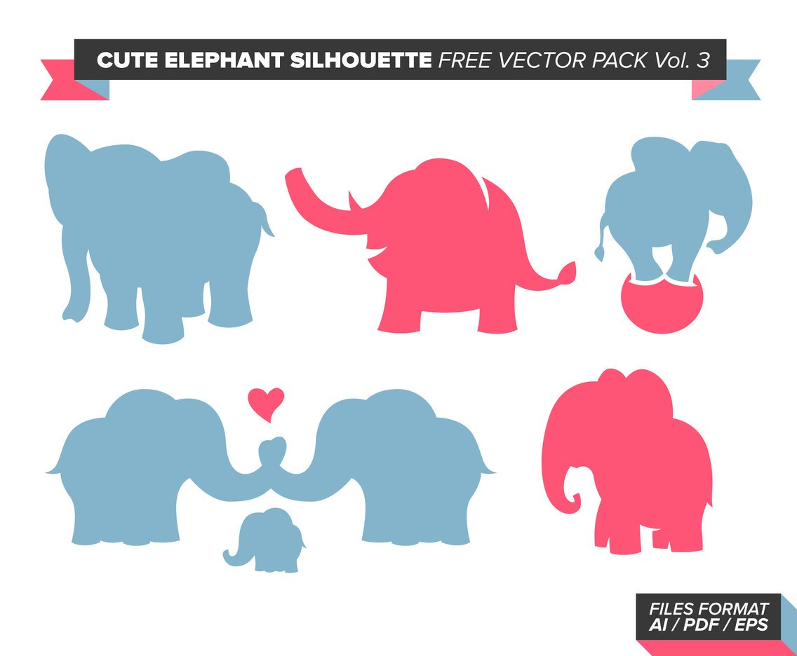 1136x936 Cute Elephant Silhouette Free Vector Pack Vol. 3 Vector Art