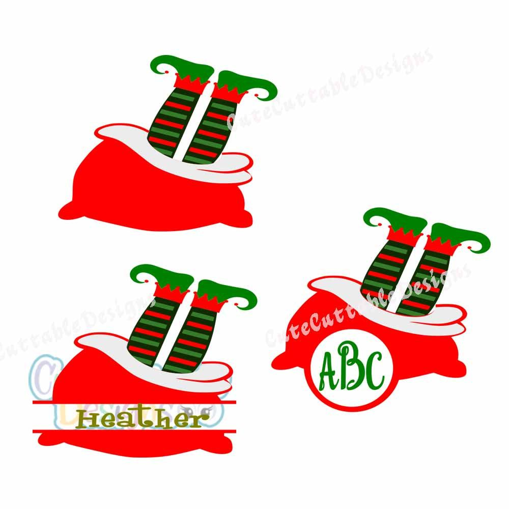1000x1000 Elf Legs Monogram Frame, Santa Sack, Christmas Svg Cut File, Dxf