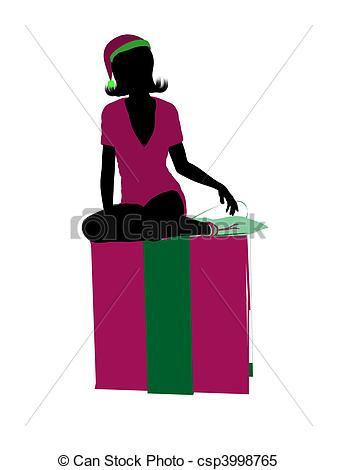 337x470 Christmas Elf Silhouette Illustration. Christmas Elf Sitting