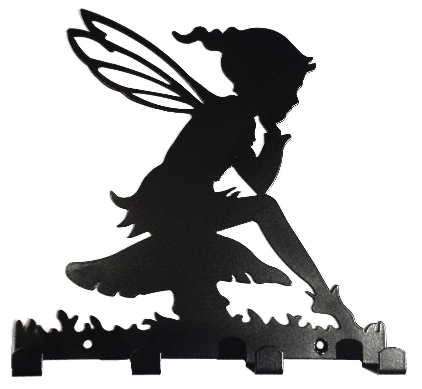1600x1476 Pixie Elf Toadstool Silhouette Key Dog Lead Hook Rack