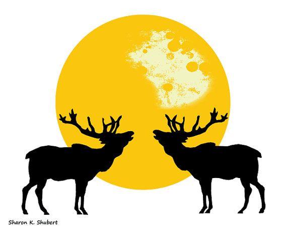 570x456 Bugling Elk Art, Yellow Black White, Southwestern Totem Animal