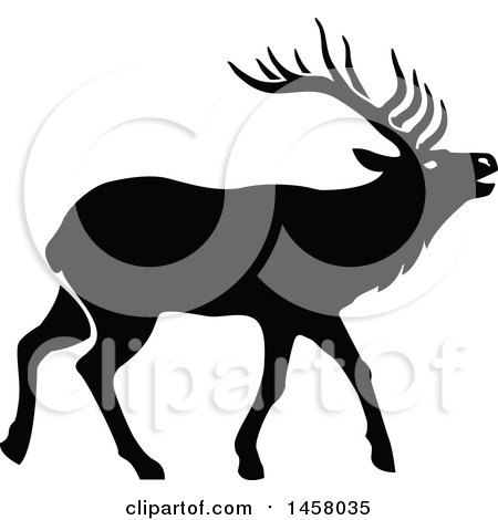 450x470 Clipart of a Black and White Profiled Elk Mascot Head Logo