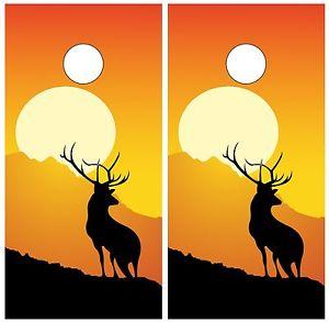 300x293 Buck Elk Hunting Silhouette Sunset Cornhole Board Decal Wrap Wraps