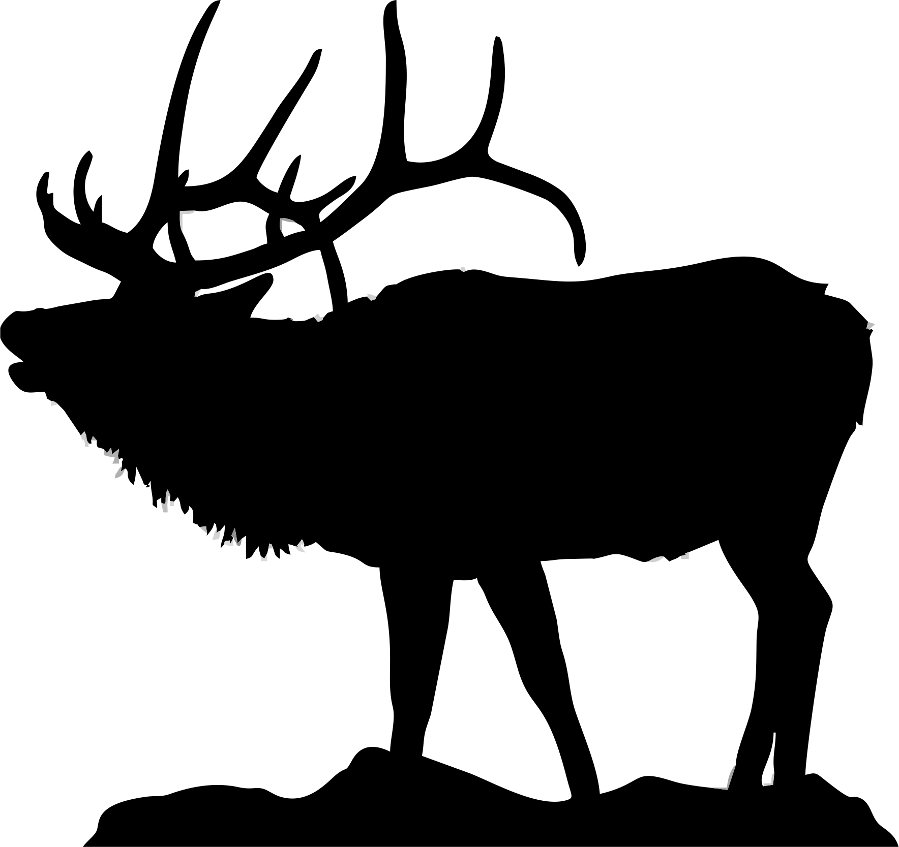 1768x1667 Silhouette Of Elk For Flat Bottom Bowls Httpwww.clipartpanda