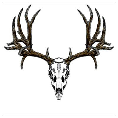 400x400 Deer Skull Drawings Cafepress Gt Wall Art Gt Posters Gt European