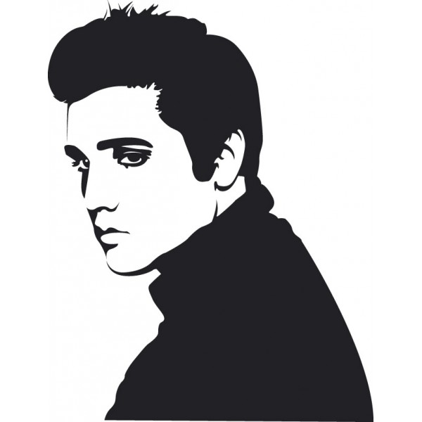 600x600 Elvis Silhouette Cross Stitch Pattern Silhouette