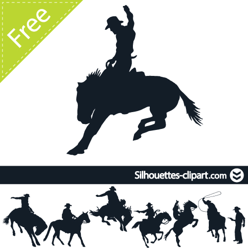 500x500 Cowboy Vector Silhouette Silhouettes Clipart Silhouettes