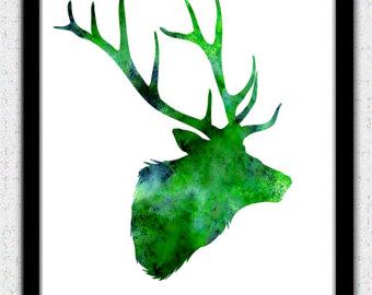 340x270 Gray Deer Head Print Dark Gray Deer Art Deer Head Poster