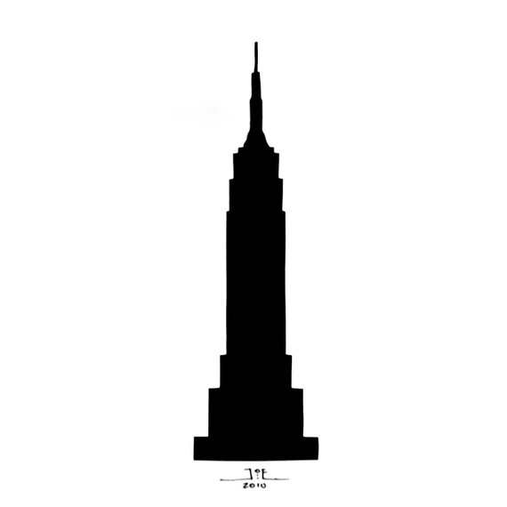 570x570 Empire State Building Silhouette 8x10 Hand Cut By Papercutsbyjoe