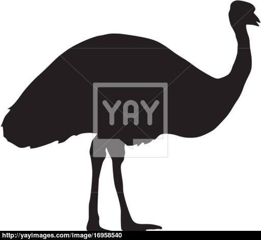 512x471 Silhouette Of Emu Vector