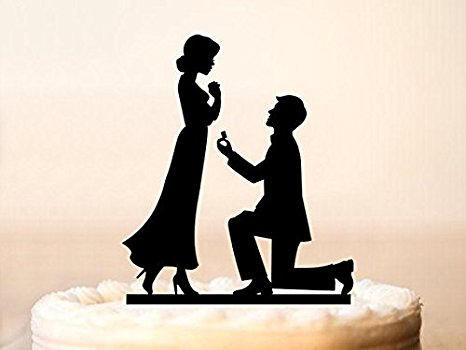 466x350 Engagement Cake Topper, Silhouette Engagement Cake