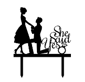 175x169 Silhouette Engagement Ring Cake Topper