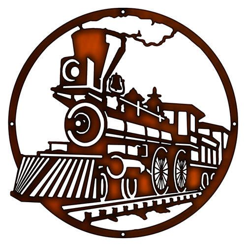 500x500 440 Train Engine, Railroad, Laser Cut Faux Copper Silhouette Metal