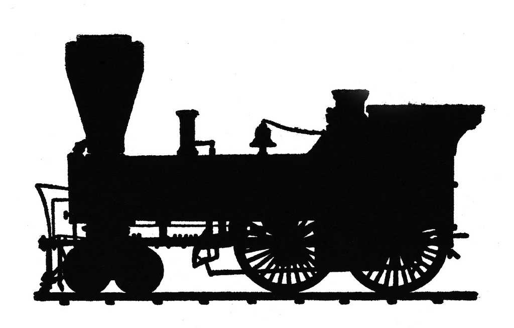 1024x653 Train An Old Silhouette Drawing Of A Steam Engine. Useful