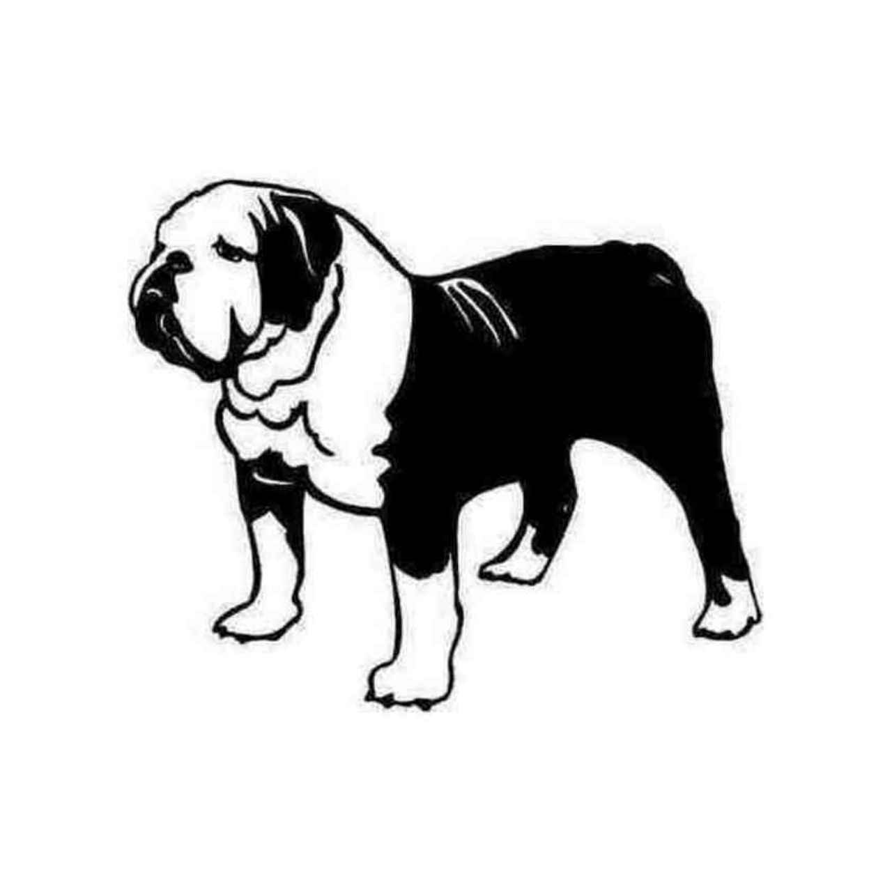 1280x1280 Bulldog Dog Detailed Silhouette Decal Sticker