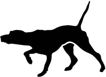 350x256 Pointer Hunting Dog Pointing With Nose Silhouette Vinyl Decal
