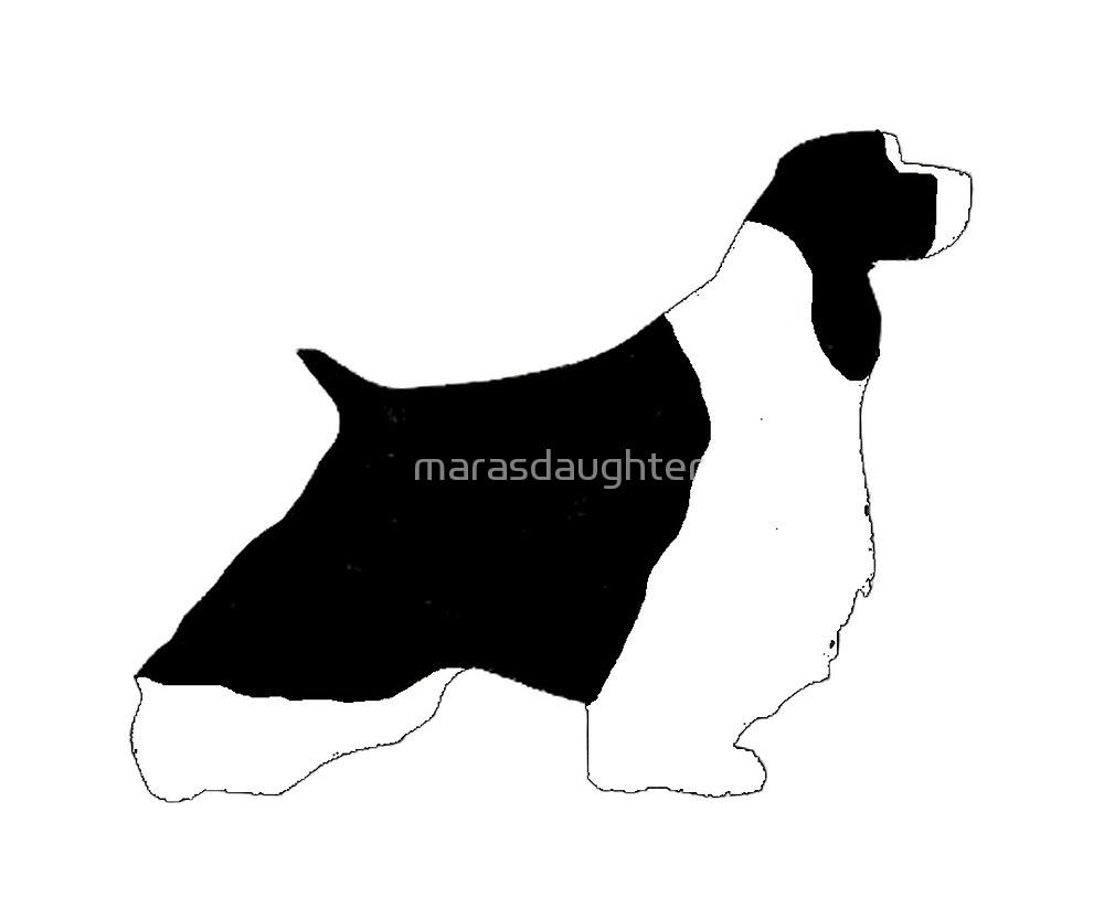 1000x833 English Springer Spaniel Black And White Silhouette By