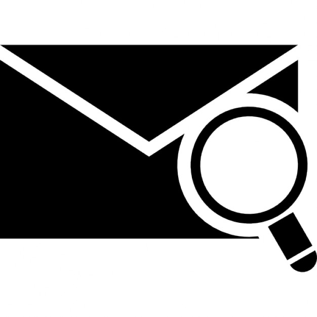 626x626 Envelope Silhouette With Magnifying Glass Icons Free Download