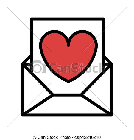 450x470 Silhouette Romantic Envelope Flat Icon With Heart Draw Vector