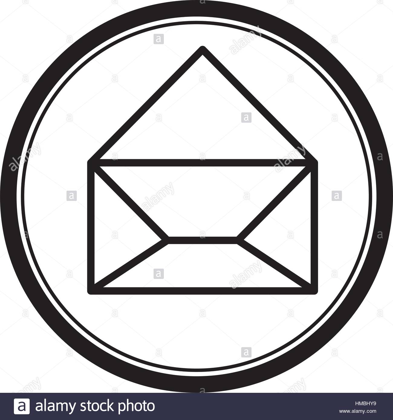 1300x1390 Circular Shape With Silhouette Paper Envelope Opened Icon Vector