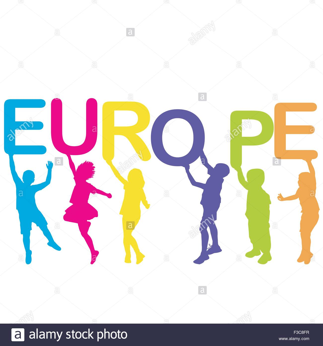 1300x1390 Children Silhouettes Holding Letters Building The Word Europe