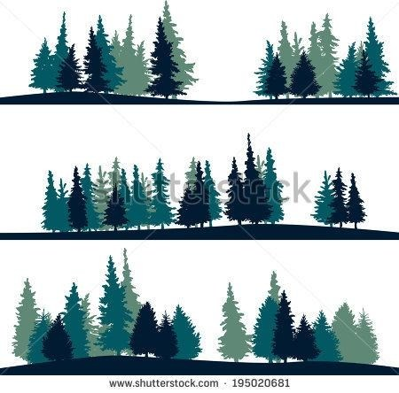 450x444 Evergreen Tree Line Silhouette Simple Living Tree In The World