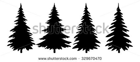 450x200 Evergreen Trees Clipart Black And White