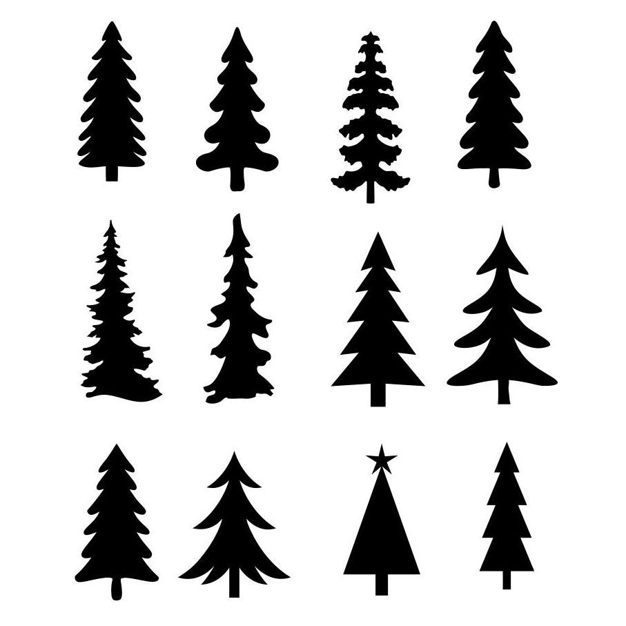 907x907 Christmas Tree Evergreen Clipart Silhouettes, Eps Dxf Pdf Png Svg