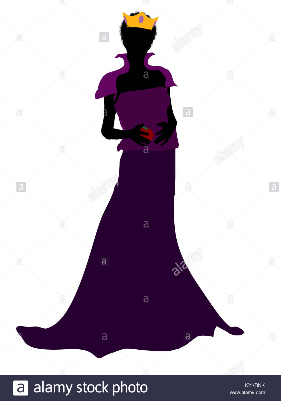 975x1390 Evil Queen Illustration Silhouette On A White Background Stock