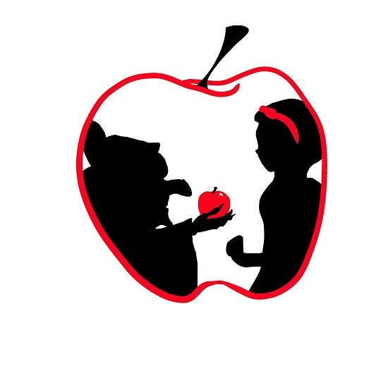 550x550 Snow White And Evil Queen Apple Posters By Geekstoday Redbubble