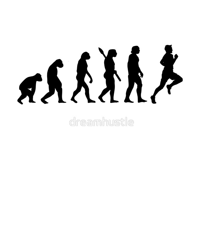 666x800 Human Evolution Of Jogging Man Posters By Dreamhustle Redbubble