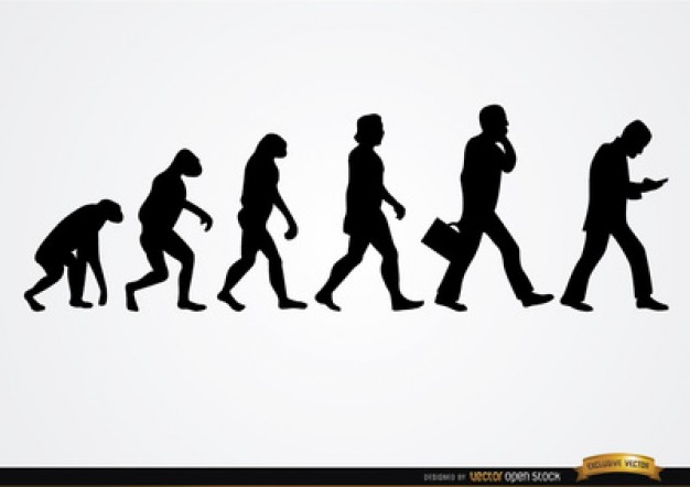 626x442 Human Transformation From Primates Silhouettes Vector Free Download
